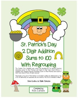 """St. Patrick's Day Math"" 2 Digit Addition With Regrouping"