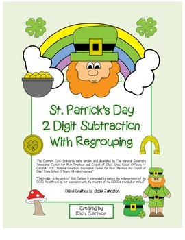 """St. Patrick's Day Math"""" 2 Digit Subtraction With Regroupin"""