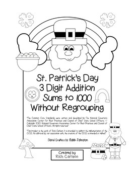 """St. Patrick's Day Math"" 3 Digit Addition No Regrouping Co"