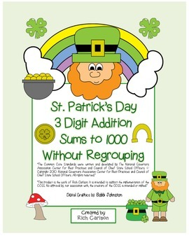 """St. Patrick's Day Math"" 3 Digit Addition No Regrouping -"
