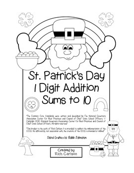 """St. Patrick's Day Math"" Add Within 10 - Common Core - Fun"