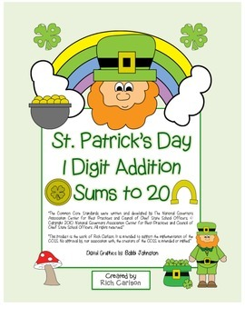 "St. Patrick's Day Math"" Add Within 20 - Common Core - Fun!"