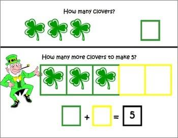 St. Patrick's Day ~ Math Common Core Mats ~ Making 5 ~ Mat