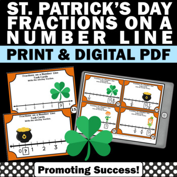 St. Patrick's Day math fractions on a number line games