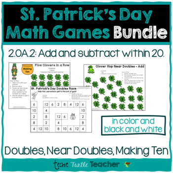 St. Patrick's Day Math Games Bundle - Making Ten, Doubles,