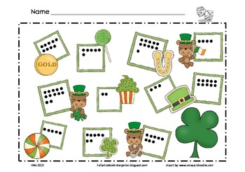 St. Patrick's Day Math Mat ~ Roll and Cover (or) Color Gam