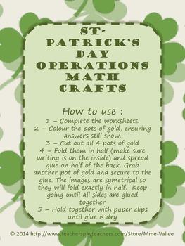 St Patrick's Day Math Operations Craft