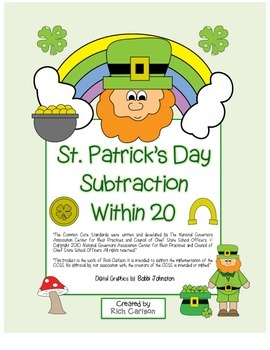 "St. Patrick's Day Math"" Subtract Within 20 - Common Core!"