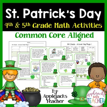 St. Patrick's Day Math Task Cards -  4th and 5th Grade Com