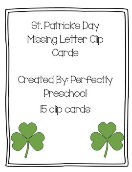St Patrick's Day Missing Letter Clip Cards