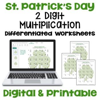St. Patrick's Day Math: 2 Digit by 1 Digit Multiplication