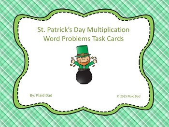 St. Patrick's Day Multiplication Word Problem Task Cards