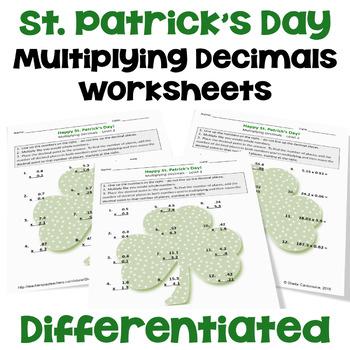St. Patrick's Day Math: Multiplying Decimals Worksheets (3