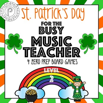 St. Patrick's Day Music Game Bundle Level  2: four games,