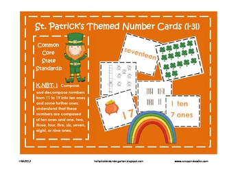 St. Patrick's Day Number Cards- Place Value, Ten Frames, N