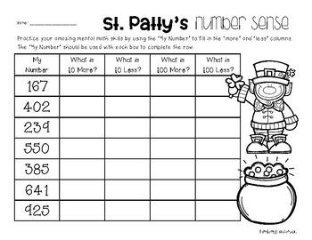 St. Patrick's Day Number Sense: 10 More, 10 Less, 100 More