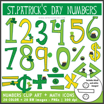 St. Patricks Day Numbers + Math Icons