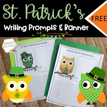 St. Patrick's Day Owl Pennant Banner and Writing Activitie