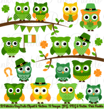 St Patrick's Day Owls Clipart Clip Art