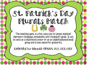 St. Patrick's Day Plurals Match: English/Spanish Bilingual