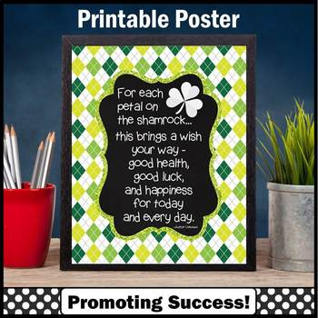 St. Patrick's Day Poster Quote about Luck Shamrock Classro