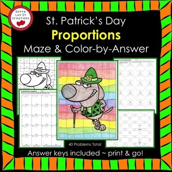 St. Patrick's Day Math Proportions Maze & Color by Number Bundle