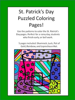 St. Patrick's Day Puzzled Coloring Pages!