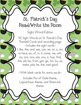 St. Patrick's Day Read and Write the Room- Sight Word Edition