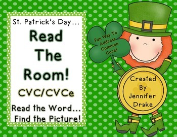St. Patrick's Day Read the Room for CVC/CVCe Words! 18 Wor