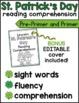 St. Patricks Day Reading Comprehension for Kindergarten