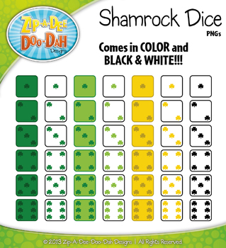 St. Patrick's Day Shamrock Dice Clip Art Set — Over 40 Graphics!