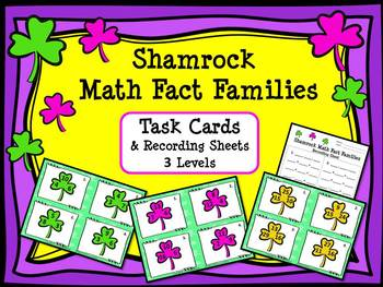 St. Patrick's Day:  Shamrock Math Fact Families Task Cards