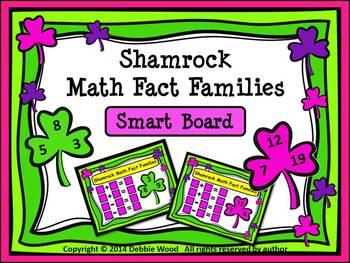 SMART Board St. Patrick's Day Math:  Shamrock Math Fact Families
