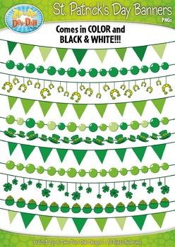 St Patrick's Day Shamrock Pendant Banners Clip Art Set — I