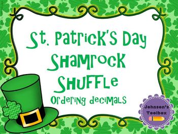 St. Patricks Day Shamrock Shuffle Decimals Math Activity