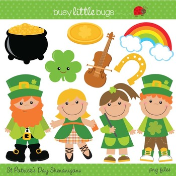 St Patrick's Day Shenanigans Clipart - Includes color and