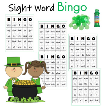 St. Patrick's Day Sight Word Bingo Game Boards