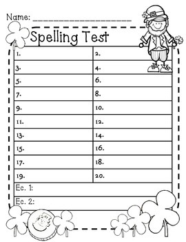 St. Patrick's Day Spelling Test Paper - Freebie!!!