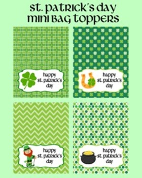St. Patrick's Day Student Classroom Mini Treat Bag Toppers