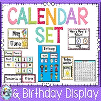 Classroom Decor Chevron Editable Calendar Display with Bon
