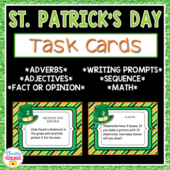 St. Patrick's Day Task Cards-Adverbs, Adjectives, Math, Se