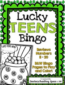 St. Patrick's Day Teen Number Bingo --- Lucky TEENS Bingo