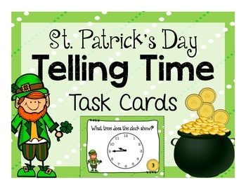 St. Patrick's Day Telling Time Task Cards