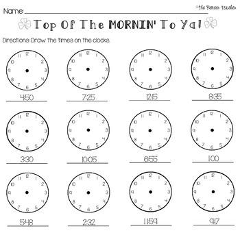St. Patrick's Day Telling Time Worksheet