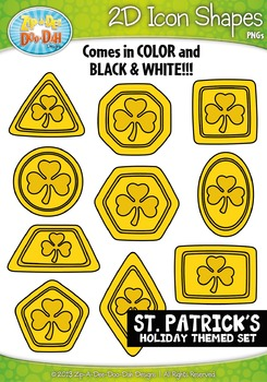 St Patricks Day Themed 2D Icon Shapes Clipart Set — Includ