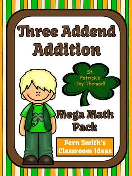 St. Patrick's Day Three Addend Addition Task Cards, Center