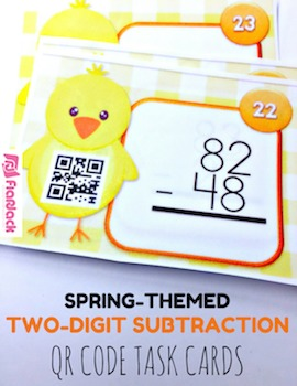 Spring Two-Digit Subtraction QR Code Task Card Fun