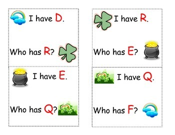 St. Patricks Day Who has letters game
