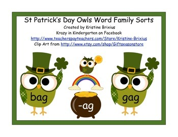 St. Patricks Day Word Family Sorts