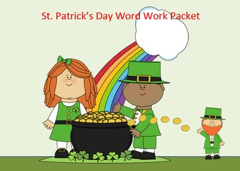St. Patrick's Day Word Work Packet – 20 words no prep spel